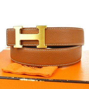 HERMES Constance H Buckle Reversible Belt Leather